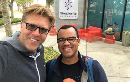 Alan doing AI research with HyperCubes CTO, Fabio Teiceira at Singularity University