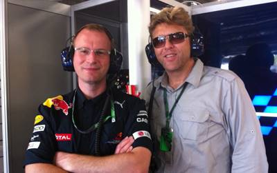 Alan with Dr. Giles Wood at Red Bull